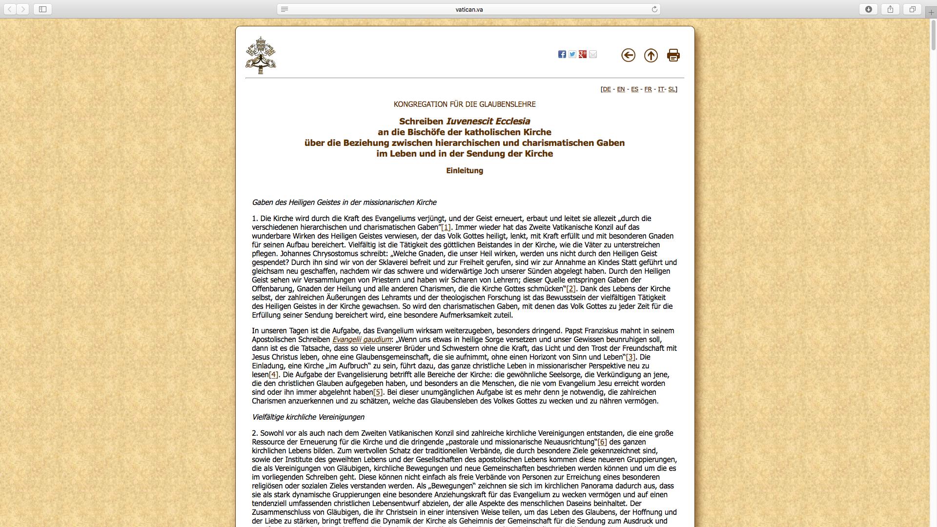 Das ganze Schreiben ist auf der Internetseiten des Vatikans veröffentlicht.