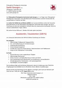 IWM Stellenausschreibung Assistenz_August 2016